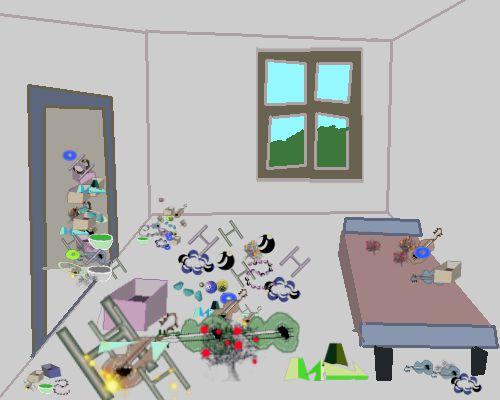 Zimmer in Unordnung